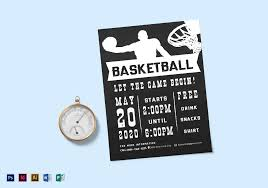 Chalkboard Style Basketball Flyer Design Template In Psd, Word ...
