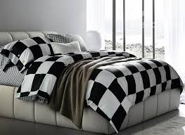 white checd squares cotton bedding sets
