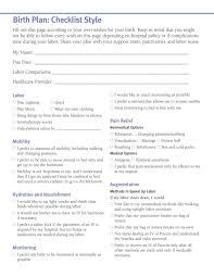 Birth Plan Check List Birth Plan Template Wiki Childrens Party Planner Model