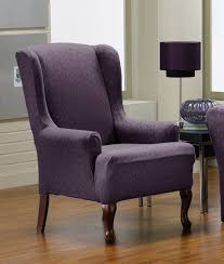 Living Room Chair Cover Purple Color Patterned Chair Cover For Wingback Chair On Laminate