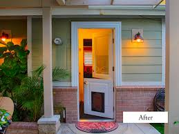 entry door mini blinds. dutch door to laundry room with pet door. plastpro smooth fiberglass model p1drs12b-286 mini blinds between the glass. entry