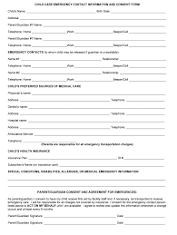 Emergency Form For Daycare Child Care Emergency Form Fill Online Printable Fillable
