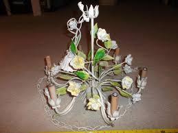 vintage italian tole chandelier 6 lite porcelain roses plug in chain project