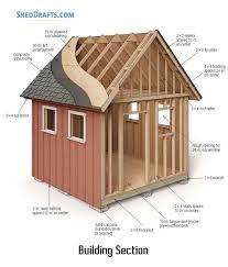 10x10 gable storage shed plans blueprints 01 building section