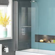 1000mm pivot overbath shower screen bath glass door panel towel rail bg01000r