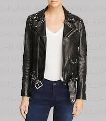 details about new women black silver spiked studded brando style punk belted leather jacket