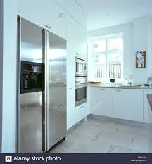 Limestone Flooring Kitchen Limestone Flooring In Modern White Kitchen With Large Stainless