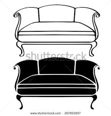 couch clipart black and white. pin sofa clipart old fashioned #7 couch black and white 3