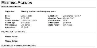 Meeting Conference Call Agenda Example Template Notes Minutes Sample