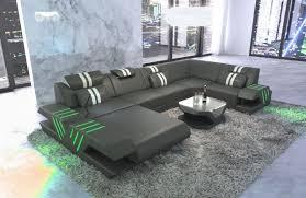 Sofa Wohnlandschaft Venedig Leder Grau Weiß