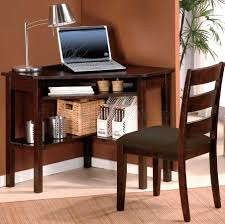 cherry finish home office modern corner desk chair set