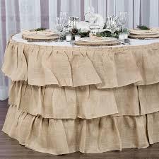 three tier ruffled burlap table skirt 17 ft natural