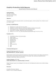 Production Artist Resume Artist Resume Samples Print Production