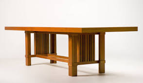 frank lloyd wright for distinguished dining set large table and four chairs in the classic combination of natural