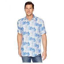 Bugatchi Men Classic Blue Shaped Fit Palm Leaf Linen Shirt