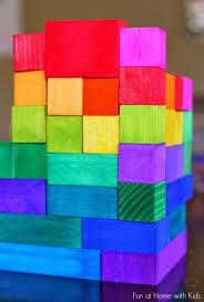 diy rainbow wooden blocks via funathomewithkids