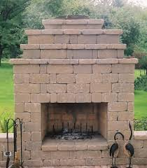 outdoor fireplace finished with wall block