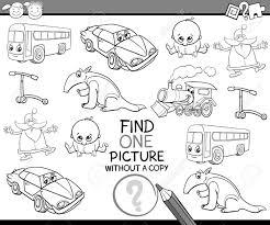 黒と白の漫画イラスト塗り絵幼児の幼児のための単一の画像検索の教育的なゲームの