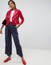 oasis faux leather biker jacket in red red