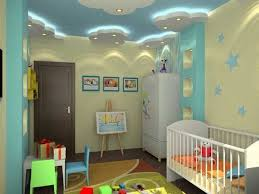 baby room decorating ideas ceiling design blue ceiling white clouds modern  lighting white furniture
