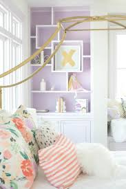 Purple Girl Bedroom With Gold Canopy Bed