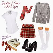 the zombie dead school girl this one is easy peasy all you need is a basic white shirt short skirt doesn t have to be tartan white socks or tights and