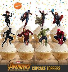 New Avengers Cupcake Toppers 9 Toppers Printable Superhero Etsy