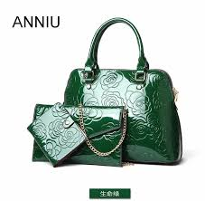 anniu new fashion women patent leather handbags designer las vintage chinese style 3d flower print bag composite bag hobo handbags italian leather