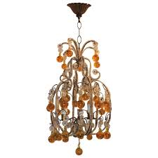 whimsical beaded italian three light amber crystal chandelier pendent fixture for