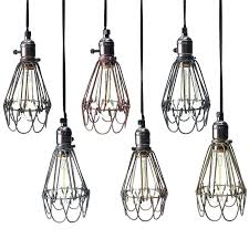 wire cage pendant light shades covers awesome industrial bulb cover
