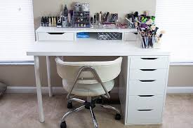 white ikea vanity makeup table with alex drawer and linnmon