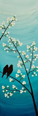 36 original modern abstract impasto palette knife acrylic painting landscape tree love birds wall decor serenade acryclic painting soft