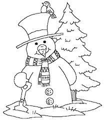 Sneeuwman Naast Kerstboom Kleurplaat Gratis Kleurplaten Printen