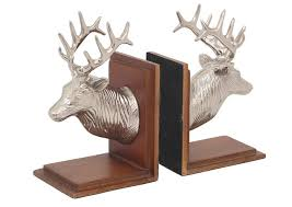 home decor reindeer bookend aluminum and wood made with nickel