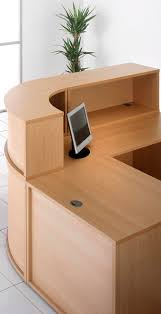 office counter desk. Denver Reception Curved Corner Counter Desk Beech, Side View Office