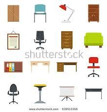 creative furniture icons set flat design. office furniture icons set in flat style isolated illustration creative design p
