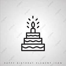 黒と白の誕生日のアイコン 誕生日のケーキのアイコン ベクトル イラスト