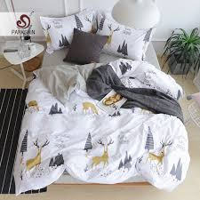 parkshin elk bedding set 100 cotton art duvet cover set twin queen king bed