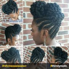flat twist high bun updo natural hairstyle