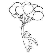 coloring pages the curious george flying with balloons