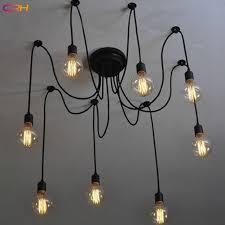 Cr 6 Lamp Holder Pendant Lights Retro Loft Spider Chandelier Bulb Decor Light