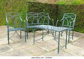 green wrought iron patio furniture. set of patio furniture made wrought iron stock image green n
