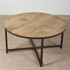 reclaimed wood small round coffee table with metal legs