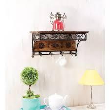 wood wrought iron fancy wall bracket book rack wall shelf with coat