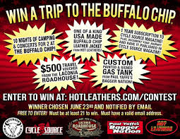 buffalo chip hot leathers win a trip to the buffalo chip for sturgis 2017 now open to enter