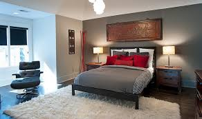 ... Asian inspired bedroom in gray and red [Design: Atmosphere 360 Studio]
