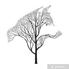 Nálepka Vlk Běh Silueta Double Expozice Směs Strom Kreslení Tetování Vektor Pixerstick