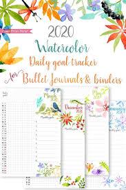 Daily Routine Printable 2020 Daily Routine Printables Habit Tracker Watercolor