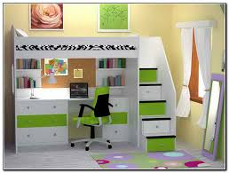 fluroscent green accent loft bed idea with desk table and storage