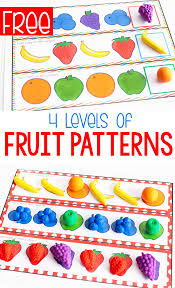 Free Printable Fruit Themed Pattern Activity Life Over